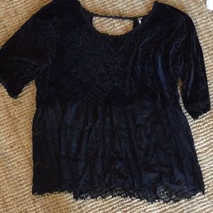 Free people velvet lace long sleeve